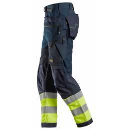 Snickers 6931 FlexiWork Odblaskowe spodnie robocze+ z workami kieszeniowymi, EN 20471/1